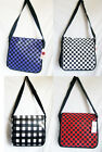 LARGE CHECKED RETRO messenger/holdall/sports/school bag BLACK PURPLE RED WHITE