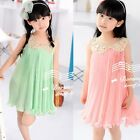 1pc Girl Kid Baby Sequin Pleated Skirt Chiffon Party Dress Outfit Pageant 2-7Y
