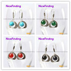 Fashion jewelry 10mm beads 20mm frame tibetan silver dangle earrings for girls