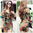 New Women Printed Mini Dress Long Sleeve Deep V-neck Tunic One-piece Party Dress