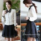 New Women High Waist Striped Pleated A-Line Casual Party Zipper Skater Skirt S M