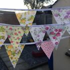 10% .CLEARNACE  FABRIC BUNTING.SHABBY CHIC.WEDDINGS,VINTAGE FLORALS.WHITE.TARTAN