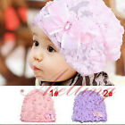 Kids Baby Rose Floral Lace Warm hat Beanie Cap Girls Bow Princess Mesh Cute Hats