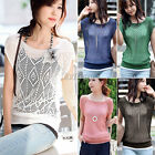 Fashion Womens Loose Short Batwing Sleeve Hollow Pullover Knit Tops Jumper