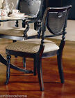 Pair Heritage Black Dining Side Chairs Beautiful Cane And Creme Upholstery NIB