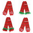 XMAS Hot Red Candy Cane Stick Baby Girl Cotton Leg Warmer Ruffles Legging Cloth