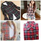 Womens British Style Lapel Plaid & Check Cotton Long Sleeve Shirts Top Blouse