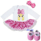 Baby Pink Polka Dots Easter Bling Bunny Bodysuit Party Dress Romper Shoes 3pcs