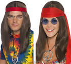 60s 70s Long Brown Hippie Hippy Wig Glasses CND Necklace Headband Fancy Dress
