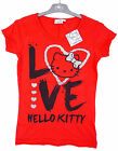 Women's Hello Kitty Love Heart Ladies Cotton T-Shirt Top Red Size XS - L NEW