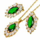 Gift Created Stone 18K Yellow Gold Plated Pendant Earrings Chain Set For Dress