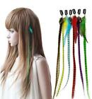 10x Grizzly Rainbow Hairpiece Stripe Synthetic Feather Hair Extensions -Z