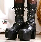 Goth Punk Visual Kei Metal Pyramid Stud Strap Buckle Cosplay Platform Calf Boot