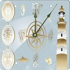 Rikki Knight Antique nautical design and lighthouse Wall Clock