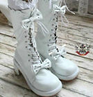 Sweet Lolita Dolly Cosplay Princess 2 Bow Tie Knot Laceup Heel Winter Boot White