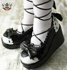 Sweet Lolita Dolly Cosplay Princess Roman Gladiator Lace Wedge Shoe Black+White