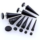 Black Acrylic Fake Cheater Ear Expander Stretcher Taper Plugs Stretcheing Tunnel