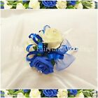 WEDDING FLOWERS GIRLS SMALL WAND SILK FOAM ROSES ROYAL BLUE + OTHER COLOURS