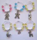 6 Wine Glass Charms: Baby Shower, choose Pink, Blue or Yellow