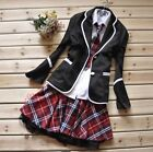 Japanese School Girl Uniform Cosplay Costume Black Red Tartan Dress Surcoat