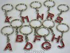 Lovely Red Rhinestone Alphabet/ Initial Keyring ( ideal gift) In a Gift Bag