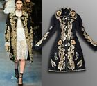 Women's Noble FASHION Wool Gold Line Embroidered Jacket Retro Trench Parka Coats