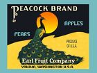 Blue Peacock Bird Pears Apples Fruits Crate Label Vintage Poster Repro FREE S/H