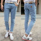 Men's Stretchy Skinny Pencil Jeans Casual Slim Taper Pants Washed Denim Trousers