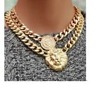 New Arrival Cool Noble Gold plated Alloy Link Carved Charming Coin Lion Necklace