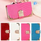Hot Bling Leather Shining Crystal Flip Purse Luxury Case Cover for iPhone 4 4S