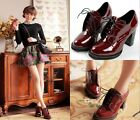 New Fashion Womens Wine Red Lace Up High Thick Heels Shoes Ankle Boots Plus Size