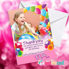 Personalised Pink Party Birthday Thank You cards with your photo added!