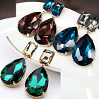 vintage antique style jewellery gold gp glass crystal blue red teardrop earrings