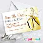 Personalised Save The Date wedding cards & envelopes - Gold Champagne Glasses