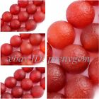 8,10,12,14MM FROST LUMPY ROUND RED AGATE LOOSE JEWELRY GEMSTONE BEADS STRAND 15""