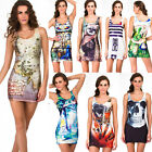2014 New Arrived Hot Women Galaxy Punk Printing Dress Tight Package Vest Skirt