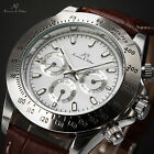 KS Luxury Analog Leather Mens Automatic Mechanical Sport Day Date Wrist Watch