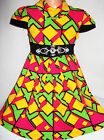 GIRLS GREEN PINK YELLOW GEO PRINT DIAMONTE TRIM WINTER KNIT PARTY DRESS