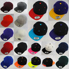 NEW PLAIN FLAT PEAK RETRO SNAPBACK HAT CAP BLACK, GREEN, NAVY, RED, GREY, PURPLE
