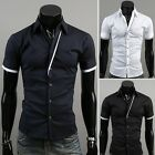 Fashion Men's Casual Slim Skinny Short Sleeve Shirts Business Sexy Shirts Tops