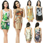 Women Ladies Digital Print Dress Galaxy Universe Tight Package Hip Vest Skirt