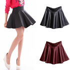 FASHION WOMENS LADIES HIGH WAISTED WET LOOK FAUX LEATHER SKATER SHORT MINI SKIRT