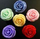 SECONDS-10  RESIN ROSE FLOWER BEADS 21mm - CHOICE OF COLOURS