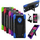 Phone Case Nokia Lumia 521 Hybrid Cover Stand + Car Charger + Screen Guard