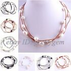 Natural 10-12mm Oval Freshwater Pearl Beads 3 Row Handmade Leather Necklace 16""