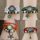 New Fashion Retro Pendant Leather Weave Ladies Bracelet Quartz Wrist Watch