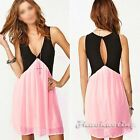 Sexy Women V-Neck Low Cut Key Hole Contrast Chiffon Club Party Swing Mini Dress