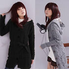 Womens Long Sleeve Hoodie Coat Cardigans trench Sweater Knitted Coat