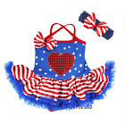 Baby 4th July Patriotic Blue Star Red Heart Bodysuit Pettiskirt Tutu Party Dress