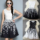 Womens Embroidery Lace Leaf Sleeveless Summer Runway Cocktail Party Mini Dress